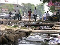 Open sewer in Sabon Gari