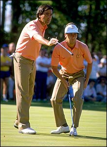 Seve advises partner Jose Maria Olazabal in the 1987 Ryder Cup at Muirfield Village in Ohio