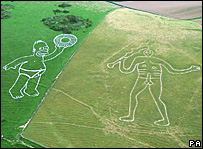 Homer Simpson next to the Cerne Giant in Dorset