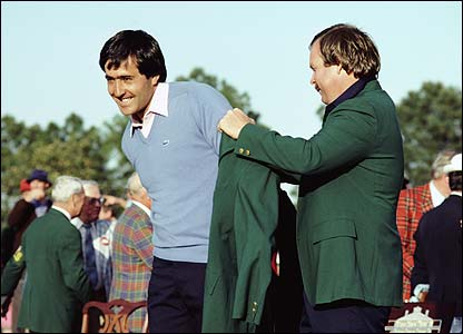 Seve is presented with his second Green Jacket by 1982 Masters champion Craig Stadler