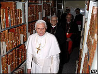 Pope Benedict XVI visiting Vatican Library