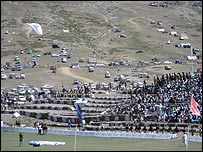 Stands surrounding the polo ground at Shandur