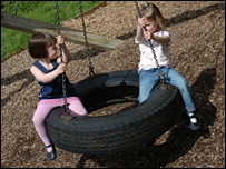 Children playing on a tyre