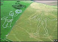 Homero Simpson junto al Gigante de Cerne Abbas, en Dorset, Inglaterra