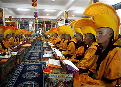 Buddhist nuns at prayer in Ladakh