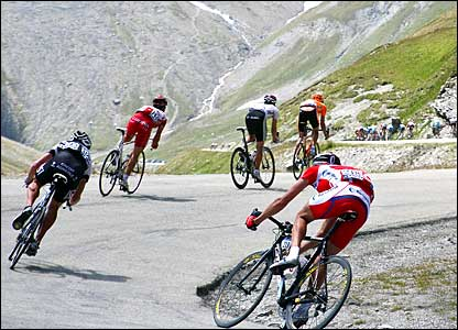 Riders descend on the Col d'Iseran