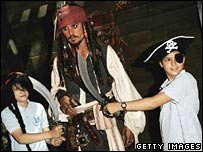 Johnny Depp waxwork in Pirates of the Caribbean display at Madame Tussauds in London