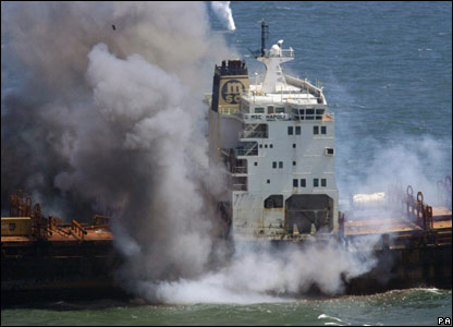 Explosions aboard the MSC Napoli