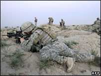 US troops on an operation with Afghan forces