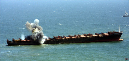 An explosion aboard the MSC Napoli