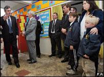 Gordon Brown visiting flooded school in Hull