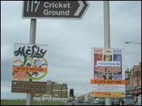Posters were flyposted on major roads