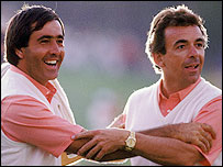 Seve Ballesteros (L) and Tony Jacklin celebrate the Ryder Cup at Muirfield Village in 1987