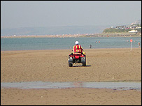 RNLI beach lifeguard on Bantham beach