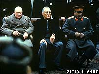 (from left) Churchill, Roosevelt and Stalin at the Yalta Conference in February 1945