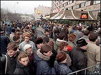 Queue outside a McDonalds in Moscow, January 1990