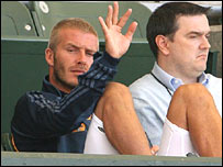 David Beckham in the crowd for the LA Galaxy's game on Monday