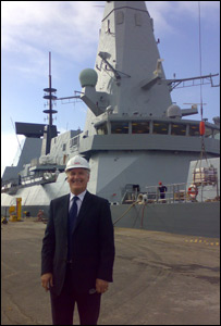 Vic Emery with HMS Daring