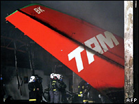 Tail of a plane that crashed in Brazil