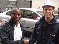 Kofi Sekyere and Slovenian policeman