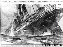 Sketch of the sinking of the Lusitania