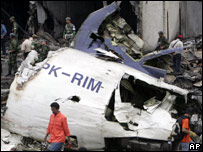 The crash site of Mandala Airlines flight A330