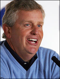 Colin Montgomerie enjoys himself at Wednesday's press conference