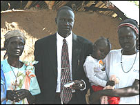 John's mum, John Majok, John's sister and niece