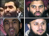 The four men jailed (clockwise from top left: Umran Javed, Abdul Muhid, Abdul Saleem and Mizanur Rahman)