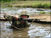 A marine takes part in a training exercise in Quantico, Virginia