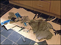 The boy's clothes were badly burned