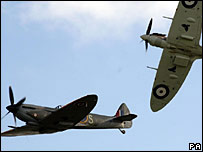 Spitfires during an air show at Duxford