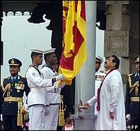 President Rajapaksa at Thursday's victory celebration