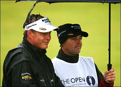 Darren Clarke and his caddie