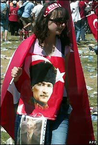Young woman at an anti-government protest in Izmir