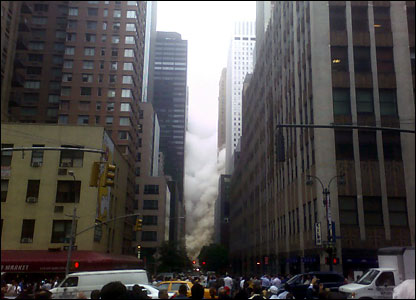 NY steam explosion, crowds on the street. Photo sent by a BBC News website reader