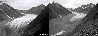 McCall glacier then and now. Image: A Post / M Nolan