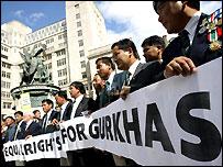 Former Gurkhas campaigning
