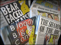 Newspapers cover the BBC crisis