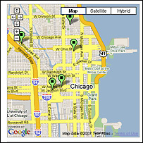 A map from chicagocrime.org showing recent bank machine thefts
