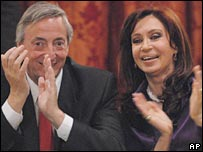 President Nestor Kirchner and Cristina Fernandez de Kirchner. File photo