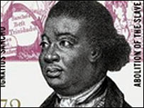 A stamp issued by Royal Mail marking the 200th anniversary since Abolition