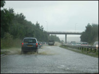 Flash flooding on the M77 [Pic: Steve Mackin]