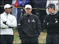 Woods (left) with Lawrie (centre) and Rose