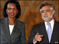 US Secretary of State Condoleezza Rice (l) and Portuguese Foreign Minister Luis Amado