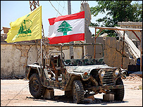 Hezbollah and Lebanese flags fly over old SLA jeep