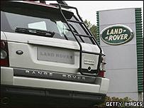 Auto y logotipo de Land Rover