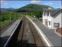 Railway tracks at Achnasheen. Picture courtesy of Undiscovered Scotland