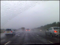 Wet conditions on the M40 near Northampton (Pic: Phil Ludlow)