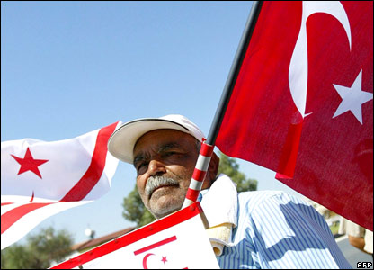 Man with Turkish and Turkish-Cypriot flags in the divided city of Nicosia